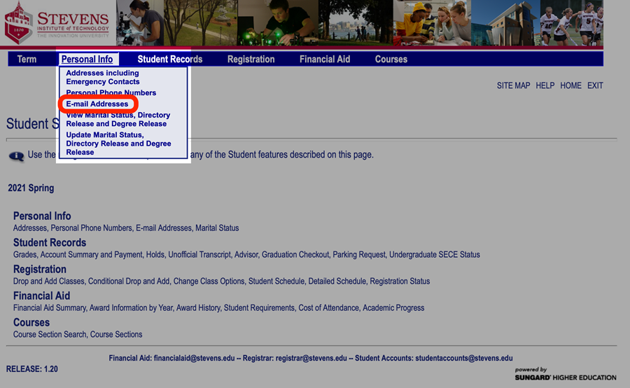 """In Web Self Services, navigate to """"Personal Info > E-mail Addresses"""""""