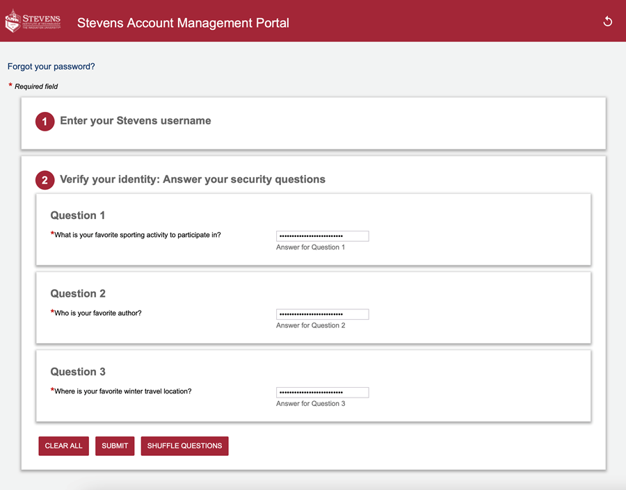 "Enter the answers to your security questions and click ""Submit."""