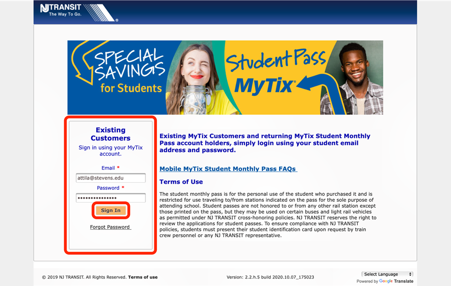 Sign in to your NJ TRANSIT Student account to reactivate your student discount.