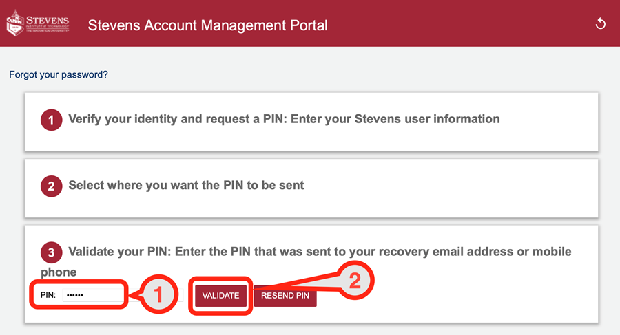 "Enter the PIN and click ""Validate"""