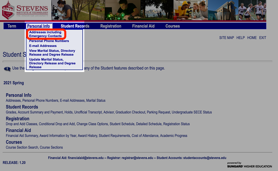 On Web Self Services, navigate to Personal Info > Addresses Including Emergency Contacts