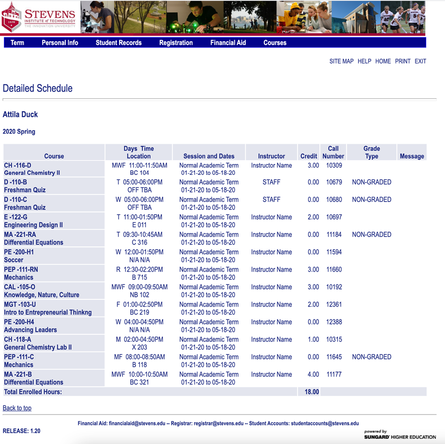 The Detailed Schedule view shows more information for each of your courses.