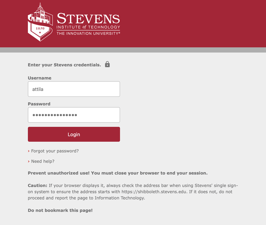Sign in using your myStevens credentials.