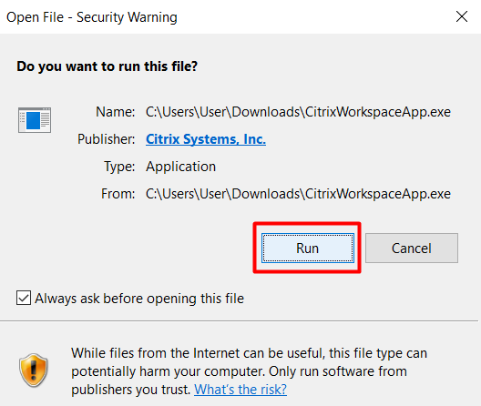 Security Warning for Citrix Workspace