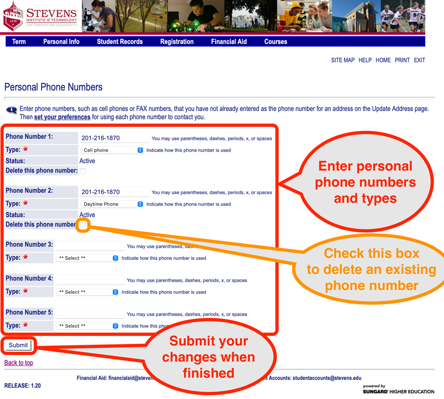 Enter your personal phone numbers, ensuring you specify what type of phone it is.