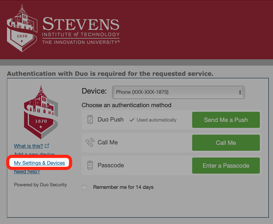 """Before choosing an authentication method, click """"My Settings & Devices"""" on the left side."""
