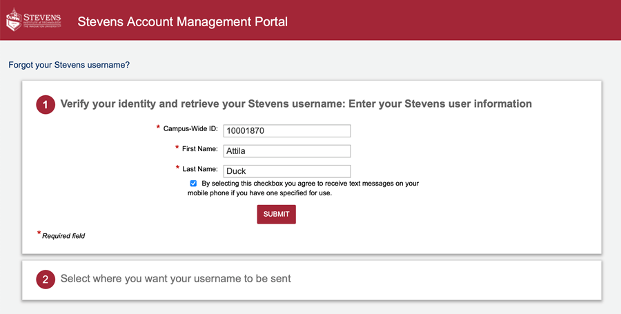 """Enter your CWID and name. Check the box, and click """"Submit."""""""
