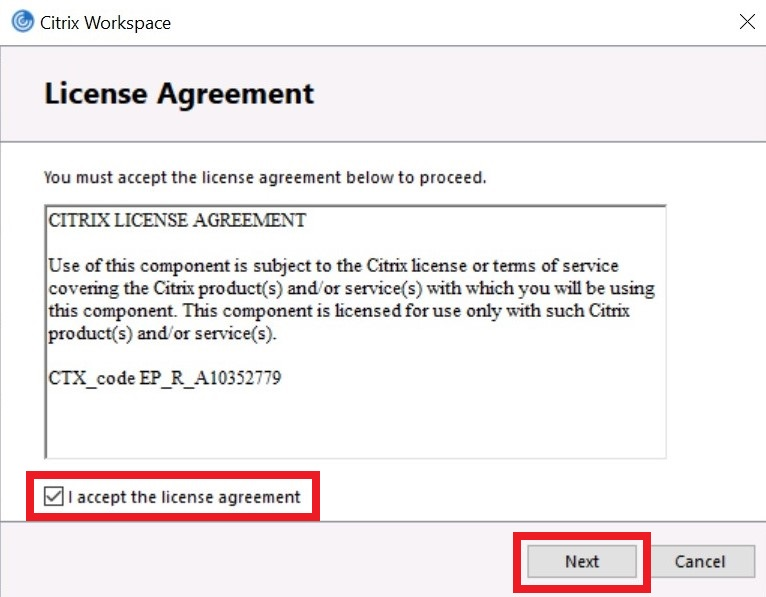 License Agreement for Cirtix Workspace