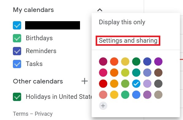 My Calendar Settings and Sharing