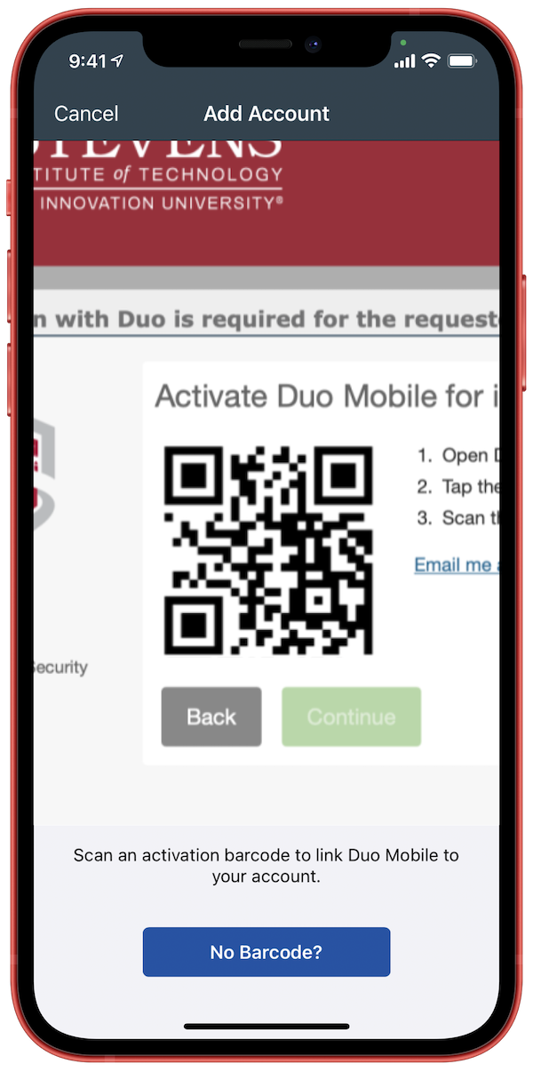 Scan the QR code from Duo