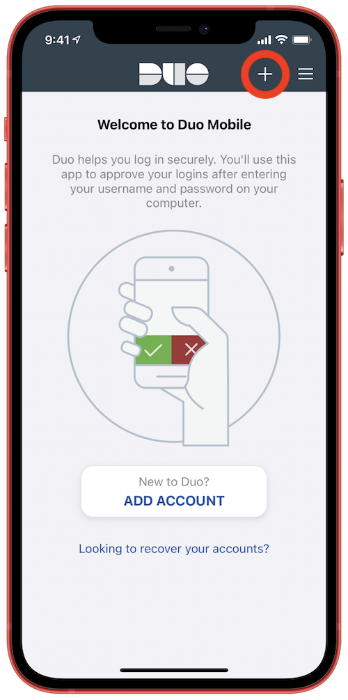 Tap the plus '+' button in the Duo Mobile app to add your Stevens account.