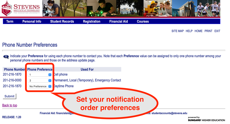 Set your preferences for the order in which your phone numbers will be contacted.