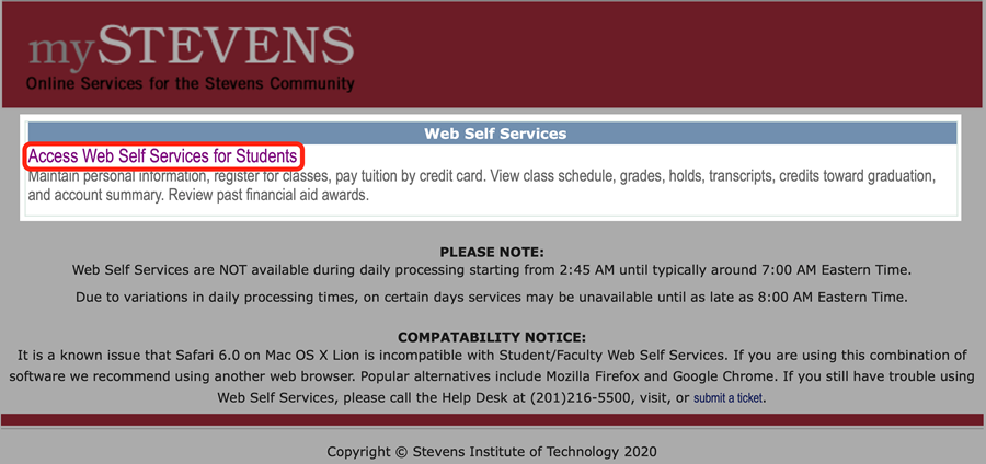 Click the link to access Web Self Services for Students/Faculty